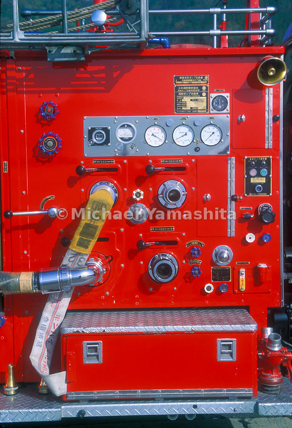 Close-up of fire engine.