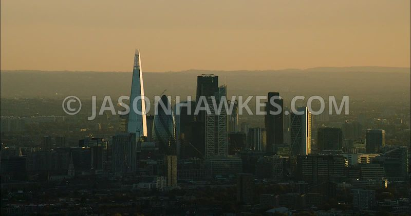 London Aerial Footage of The Shard at sunset