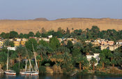 Elephantine Island on the Nile facing modern Aswan, Aswan, Egypt