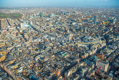 Aerial view of London, Mayfair with St James's towards Soho and St Giles.