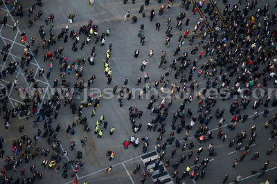 Aerial view of crowd at City Airport, London