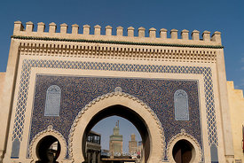 The Bab Bou Jeloud in Fes, Morocco.