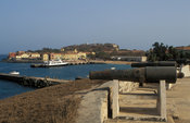 View of the jetty and waterfront from Fort d'Estrées, built by the French in 1850, houses the IFAN historical museum, Goree i...