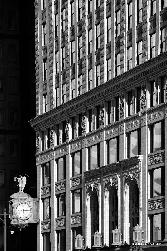 CHICAGO DOWNTOWN ARCHITECTURE CLOCK CHICAGO ILLINOIS BLACK AND WHITE VERTICAL