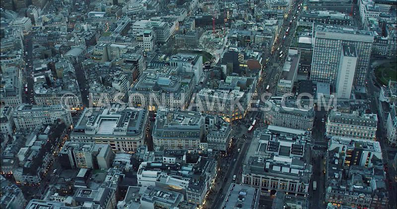 London Aerial Footage of Regent Street and Oxford Street