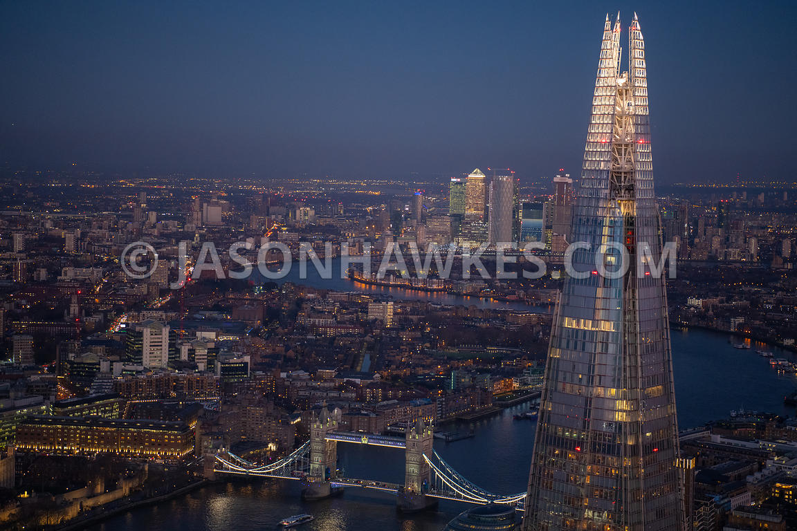 Dusk aerial view of the Shard, London