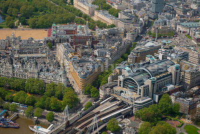 Aerial view of Embankment, London