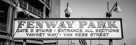 Fenway Park Sign Black and White Panoramic Photo