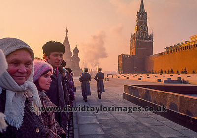 Russians watch the 7am guard changing | Lenin Mausoleum Red Square Moscow | April 1976