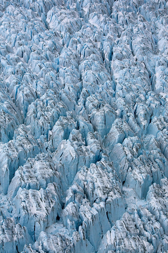 Aerial view of ice ridges near the front of Peters Glacier, South Georgia, Antarctica, December 2006
