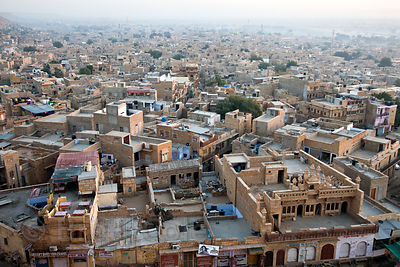 View of the city of Jaisalmer from Jaisalmer Fort, Rajasthan, India