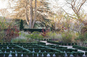 The East Garden at the Bishop's Palace, Wells featuring a knot garden of euonymus planted in the summer with varieties of the...