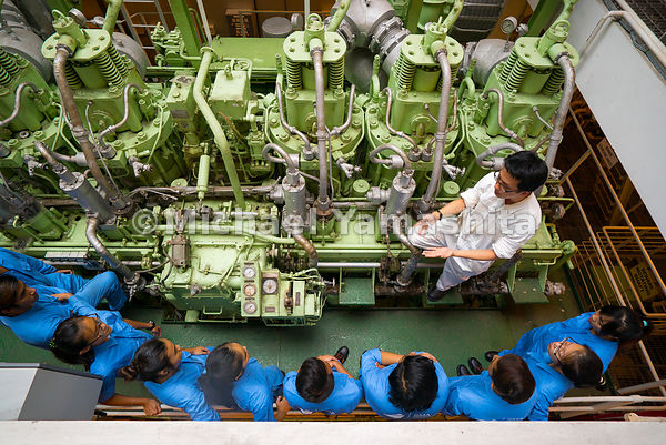 Mr Ng Guo Yi keeps his students in thrall as he explains the many intricate parts of a ship's engine and how they coordinate ...