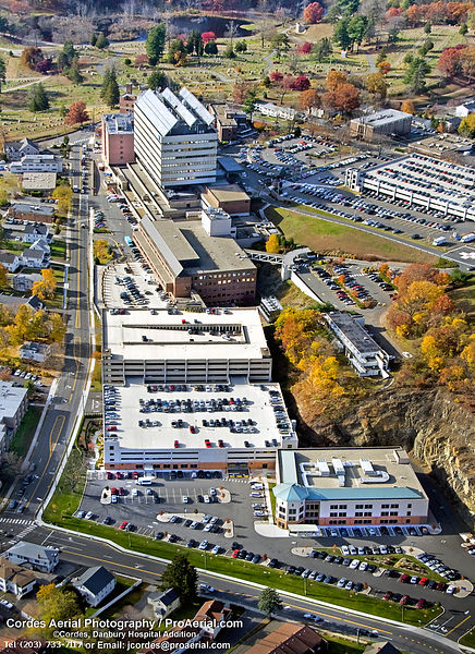 Aerial Danbury Hospital View East to West