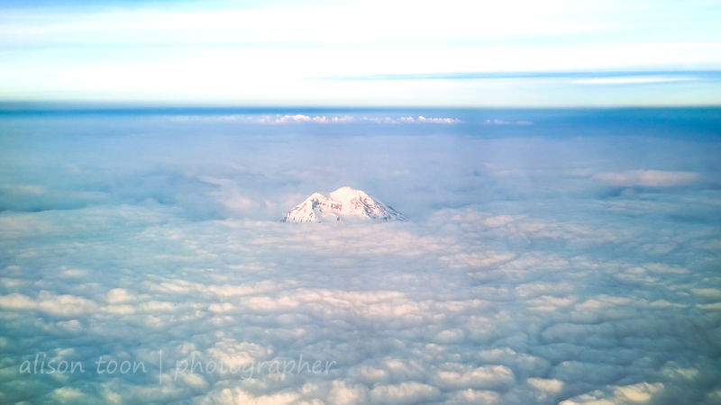 Volcano and clouds, Seattle to Sacramento