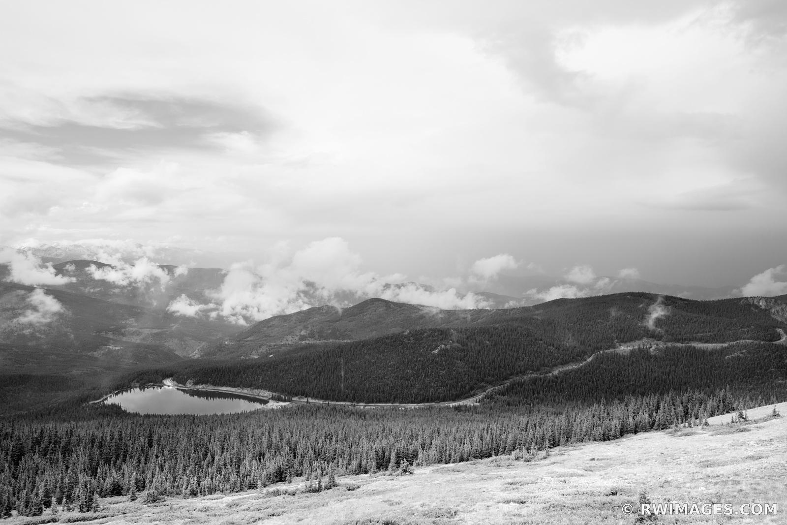 ECHO LAKE MOUNT EVANS ROAD SCENIC BYWAY COLORADO ROCKIES BLACK AND WHITE
