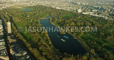 London Aerial Footage of Hyde Park with The Serpentine