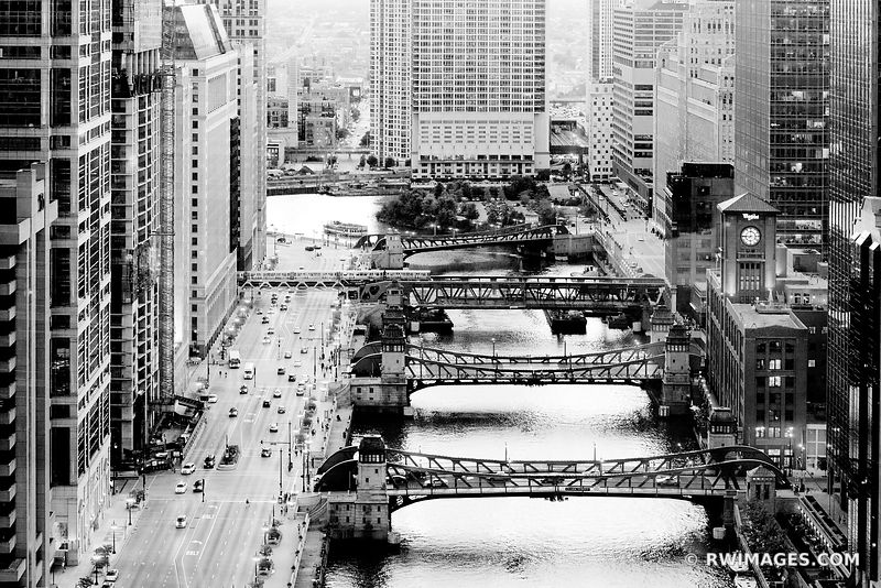 CHICAGO RIVER AND BRIDGES EVENING BLACK AND WHITE