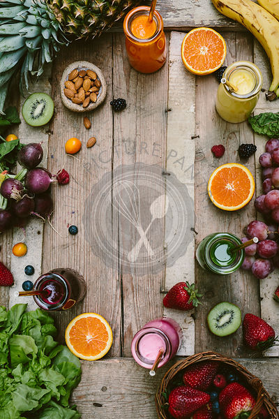 Smoothies and Fruits on Wood