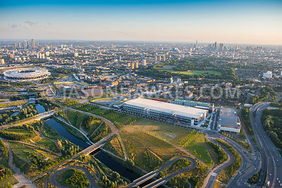 Aerial view of Here East, Here East, Queen Elizabeth Olympic Park, London