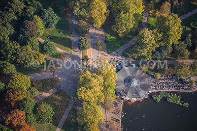 Aerial view of London, Hyde Park close up of cafe at The Serpentine.