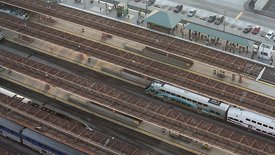 Bird's Eye: Active Rows Of Boarding Stations, Union Station L.A.