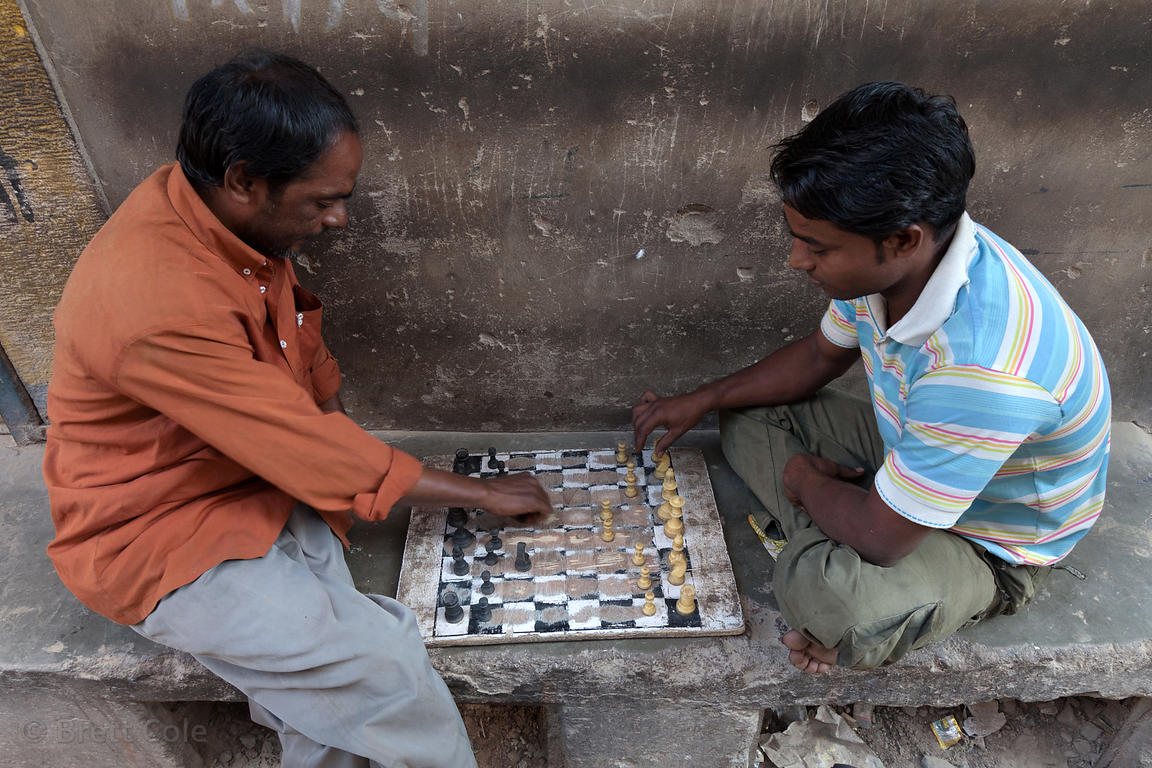 Men playing chess on a street in Jodhpur, Rajasthan, India