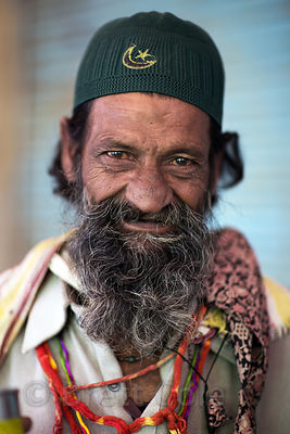 Portrait of a Muslim man at Taragarh Fort, Ajmer, Rajasthan, India