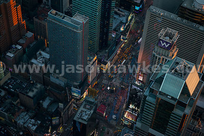 Aeiral view of busy Times Square at dusk