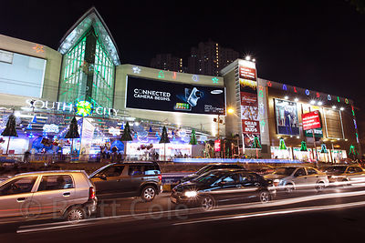 Nighttime exterior view of South City Mall in Kolkata, India at Christmas time. South City is the largest mall in East India....
