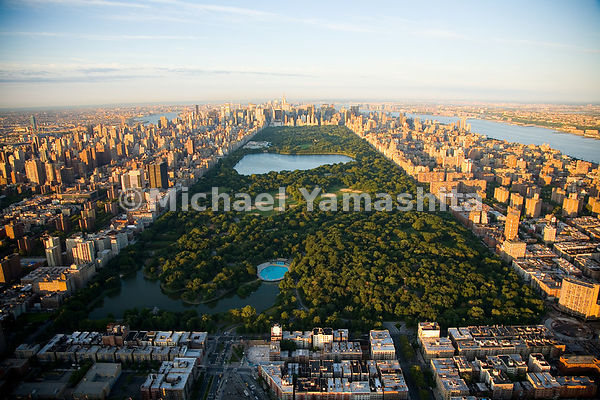 An aerial view of the 844 acres of Central Park.  Manhattan, New York City.