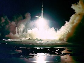 Liftoff of the Apollo 17 Saturn V Moon Rocket from Pad A, Launch Complex 39, Kennedy Space Center, Florida, at 12:33 a.m., De...