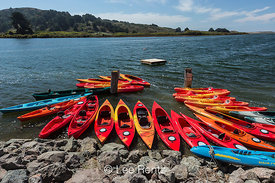 Outfitter's Kayaks Along Russian River in Jenner, California