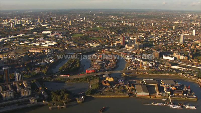 Aerial footage of Leamouth Peninsula, London