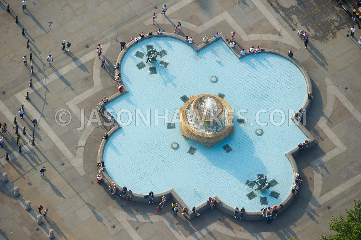 Aerial view of fountains in Trafalgar Square, London
