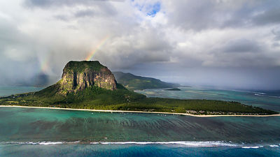 Aerial of Le Morne, Mauritius. Drone Phantom 4, about 300m alt.