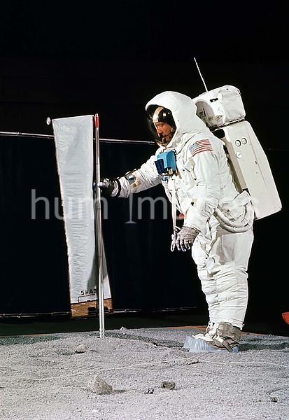 (22 April 1969) --- Astronaut Edwin E. Aldrin Jr., wearing an Extravehicular Mobility Unit (EMU), simulates deploying the Sol...