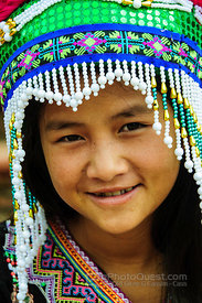 Colourfully Dressed Hmong Girl on Steps in Sapa