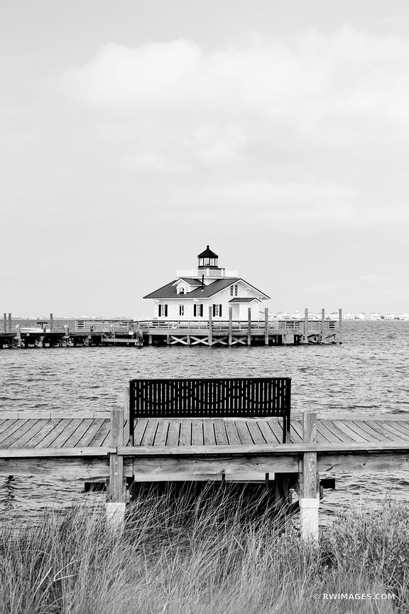 ROANOKE MARSHES LIGHTHOUSE MANTEO OUTER BANKS NC BLACK AND WHITE