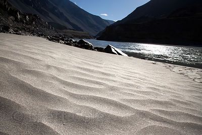 Sandy banks of the Zanskar River near its confluence with the Indus River at Nimmu, Ladakh, India