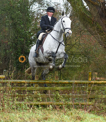 Jumping a hunt jump in Holwell. The Belvoir Hunt at Hill Top Farm 1/12