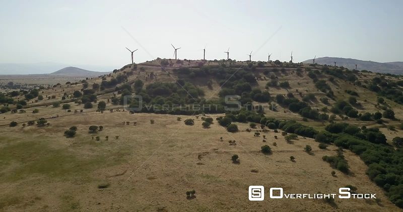 Wind farm, Golan Heights Aerial view Israel