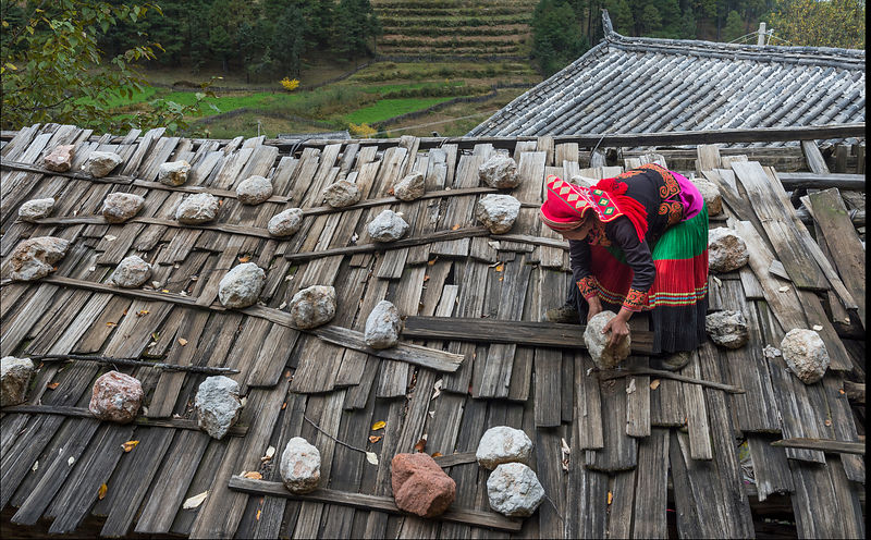 Yi village shingle roof