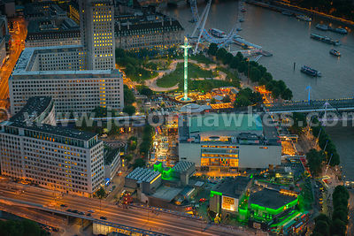 Ariel view of Royal Festival Hall at night, Southbank, London