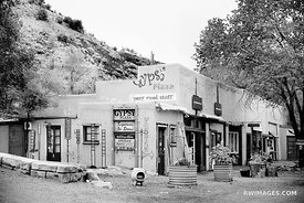TURQUOISE TRAIL MADRID NEW MEXICO BLACK AND WHITE