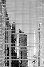 MODERN ARCHITECTURE GLASS BUILDING FACADE ABSTRACT REFLECTION CHICAGO ILLINOIS BLACK AND WHITE VERTICAL