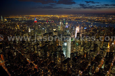 Night aerial view over midtown with the The Citigroup Centre and its 45° angled roof (formerly Citicorp Centre now 601 Lexing...