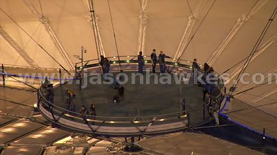 Aerial footage of the O2 Arena at night, London