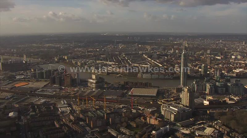 Aerial footage of Nine Elms development, London