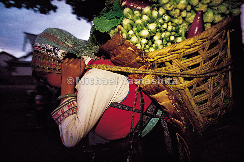 Her wares on her back, a vendor - of the Bai tribe - takes her vegetables to Zhouchang Market on the shores of Erhai Lake. Zh...
